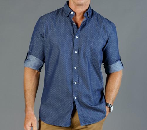 Denim Dobby Mens Long Sleeve Casual Slim Fit Shirt