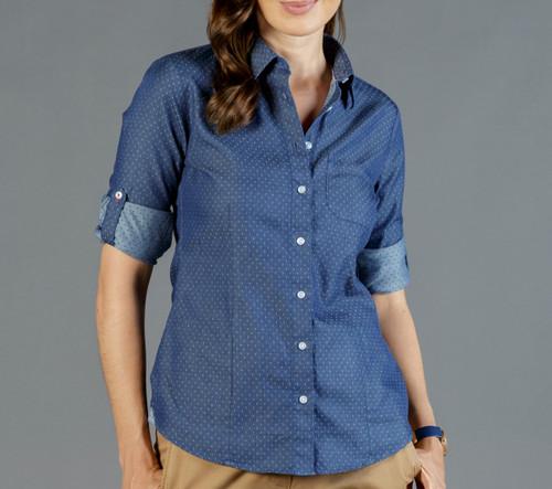 Denim Dobby Womens Long Sleeve Casual Slim Fit Shirt