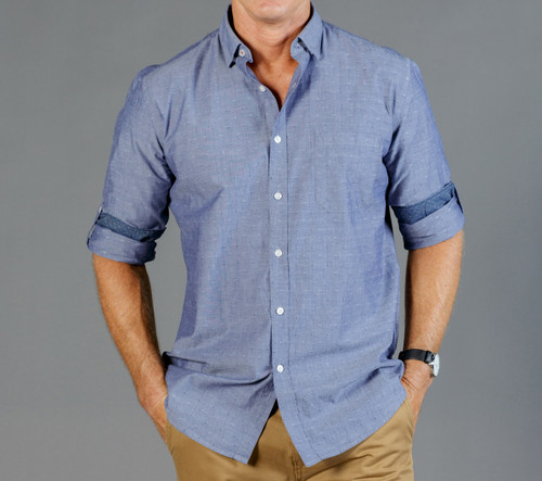 Chambray Dobby Mens Long Sleeve Casual Slim Fit Shirt