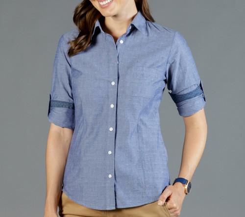 Chambray Dobby Womens Long Sleeve Casual Slim Fit Shirt