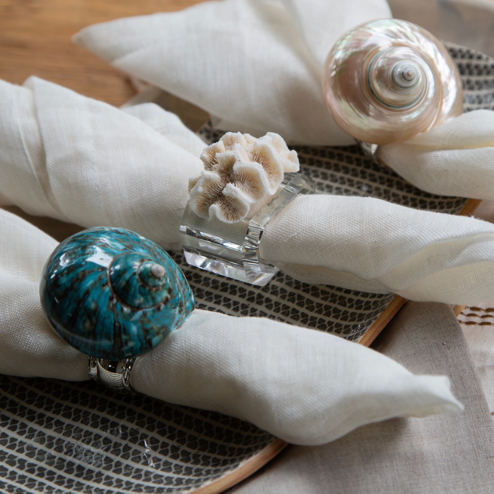 L to R: Green Shell Silver, Natural Coral Crystal, and White Shell Silver