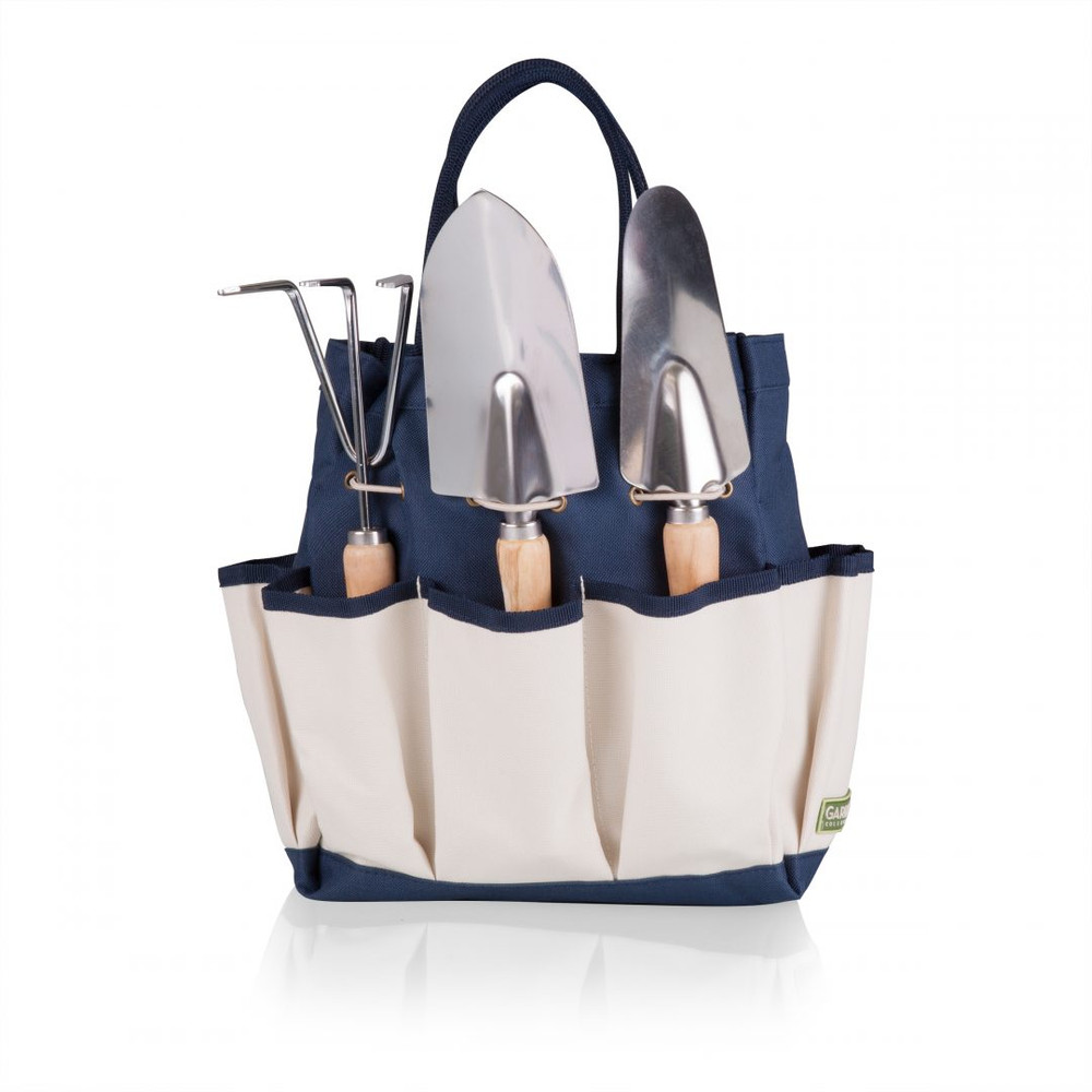 Large Navy w/ Cream Garden Tote w. 3 Pc Tools