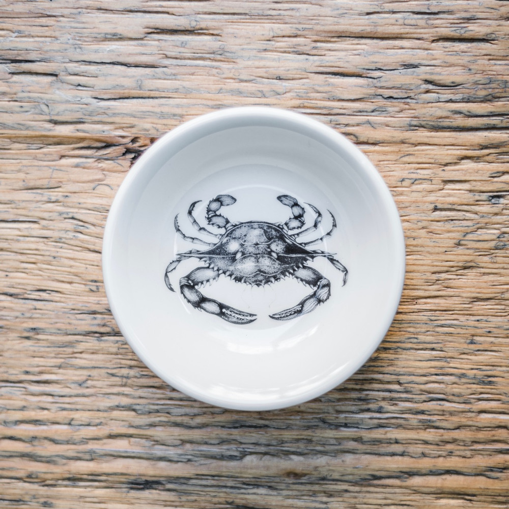 """Blue Crab  These Laura Zindel Design sauce bowls are made from creamy white high-resistance china. These products are microwave and dishwasher safe, and durable enough for everyday use. Size: 4.75"""""""