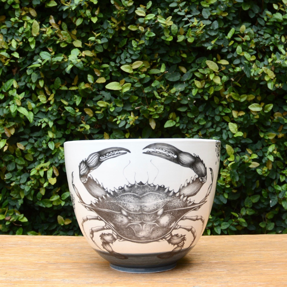 Blue Crab Laura Zindel Design handmade ceramic bowls are functional works of art. Each bowl is crafted from earthenware and glazed with our own hand mixed glazes and finished with Laura's signature illustrations.
