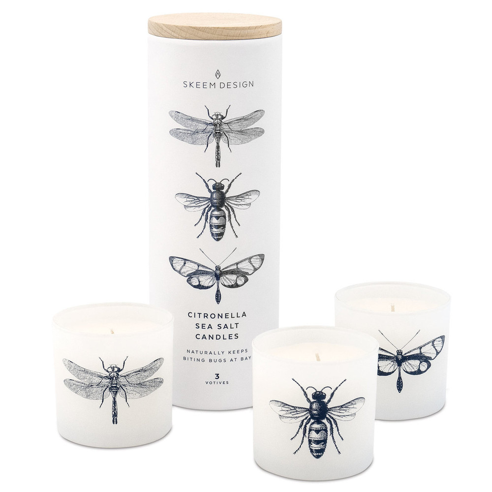 Our Citronella Votive Set comes with three 50 hour votives and is a blended scent of ocean air, sea salt, and jasmine!