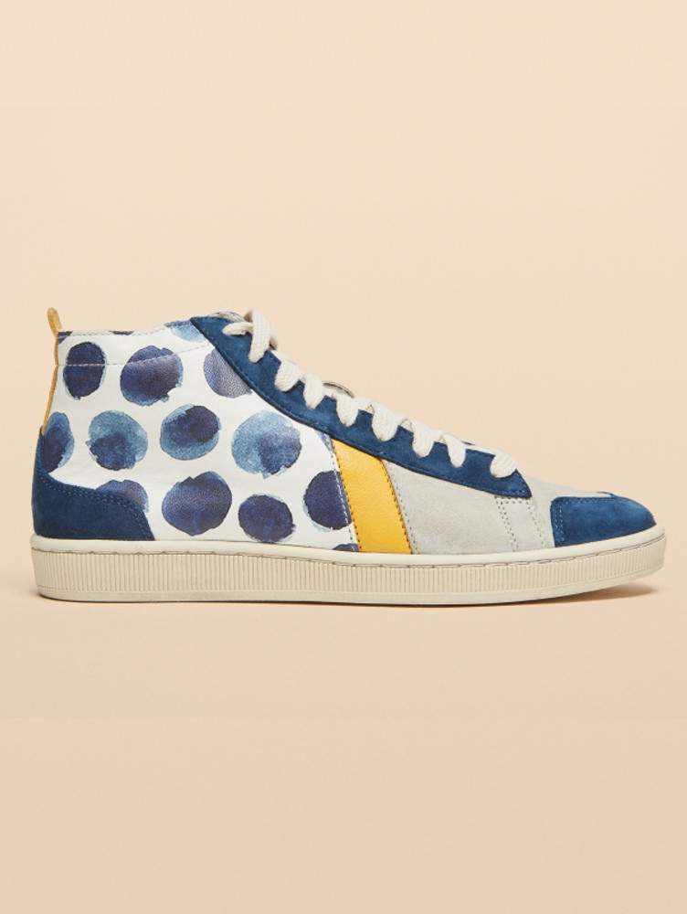 Cotelac sneakers made of smooth leather + and unique designs.  Indigo Dot