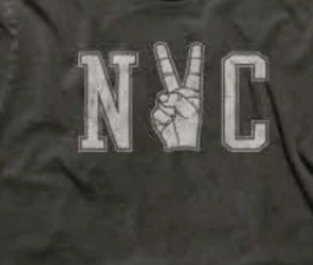 NYC Peace  Dress it up or dress it down this cozy sweatshirt has a touch of nostalgia with it's subtly distressing and unfinished edges.