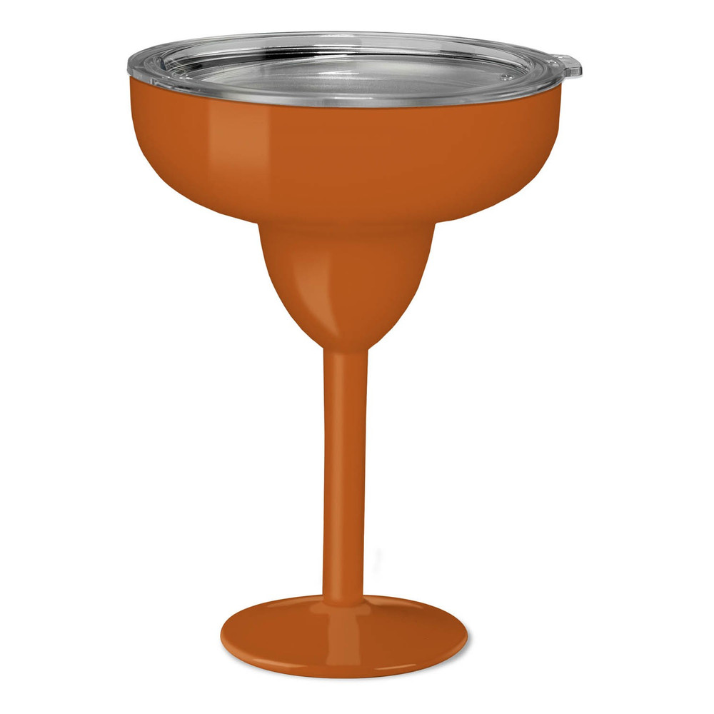 Sport Orange   This 8 oz double walled margarita glass is the perfect drink ware by the pool or at the beach to keep you margarita or favorite drink chilled! Stainless steel, includes triton lid, BPA free, holds ice up to 24 hours.