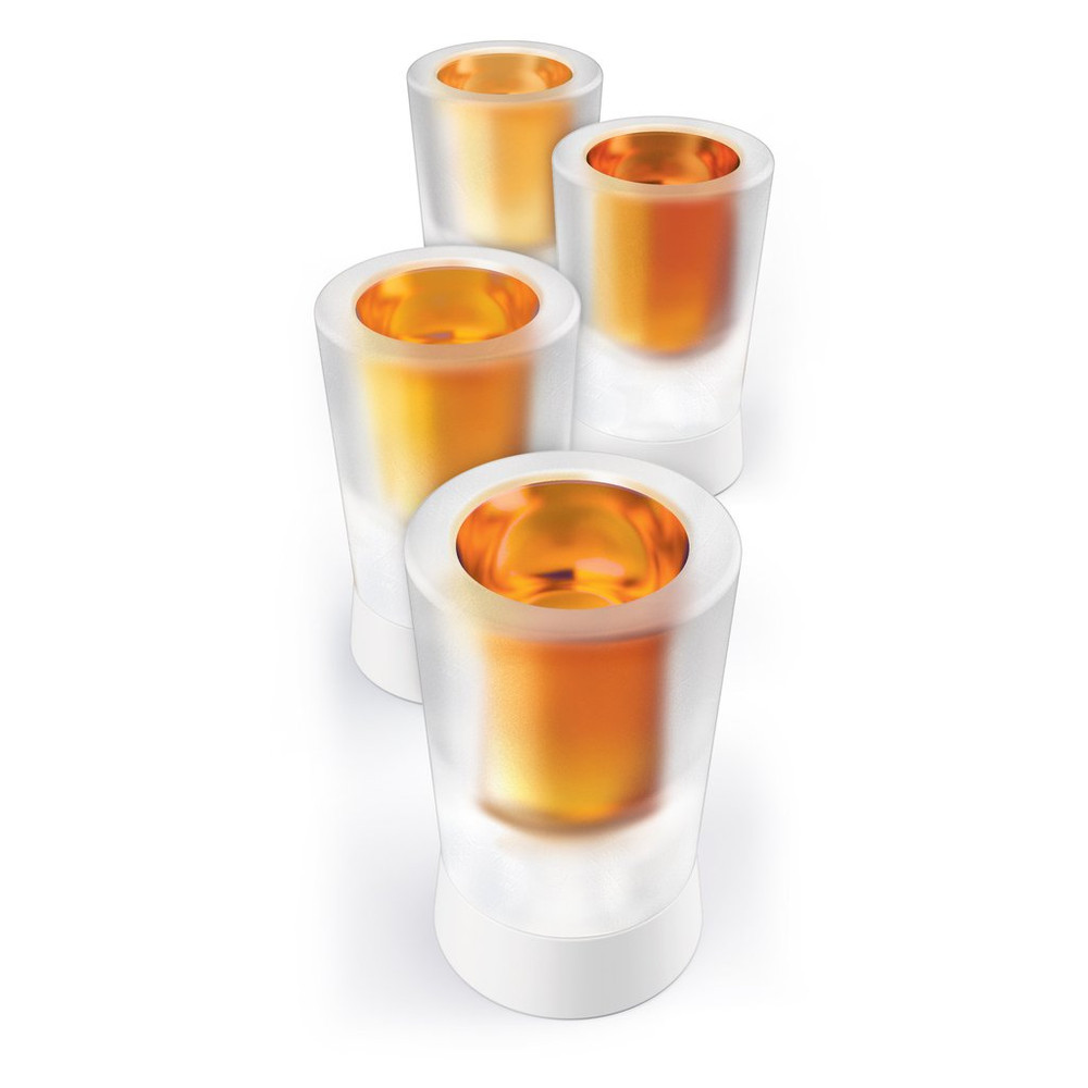Create edible and cooling shot glasses from ice, chocolate, or even candy. Simply fill the silicone molds on the storage tray and freeze. Once frozen, easily remove the flexible silicone and pour your shooter. Bottoms up!