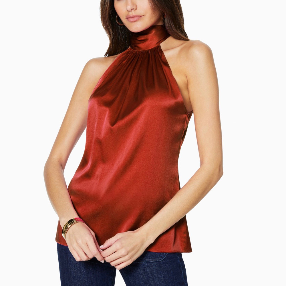 Clay  Stunning, no matter how you wear it. Ramy Brook's ultra versatile Lori top features a dramatic high neckline that makes it glamorous enough for parties, but easy enough to wear everyday.   This style runs on the larger side, so we suggest sizing down.