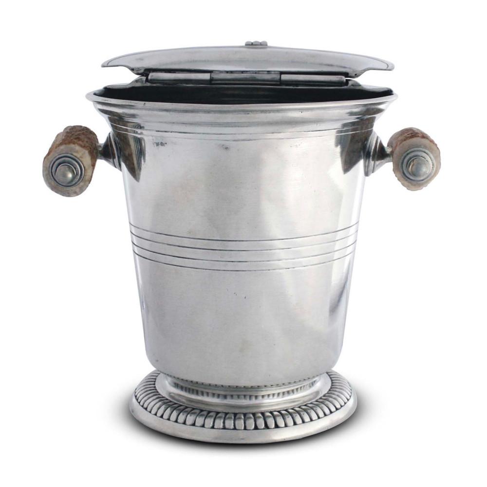 Lidded Ice Bucket w. Antler Handles
