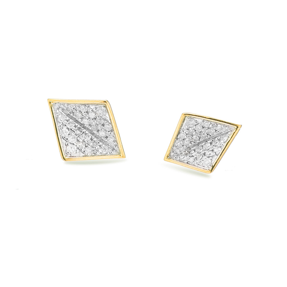 These earrings are the perfect amount of sparkle, hand set pave in 14k yellow gold. The folded diamond shape gives an added depth for a classic everyday look.