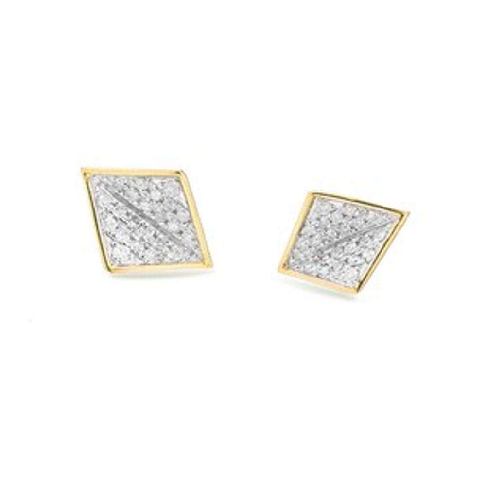 Tiny Pave Folded Diamond Posts - Y14K