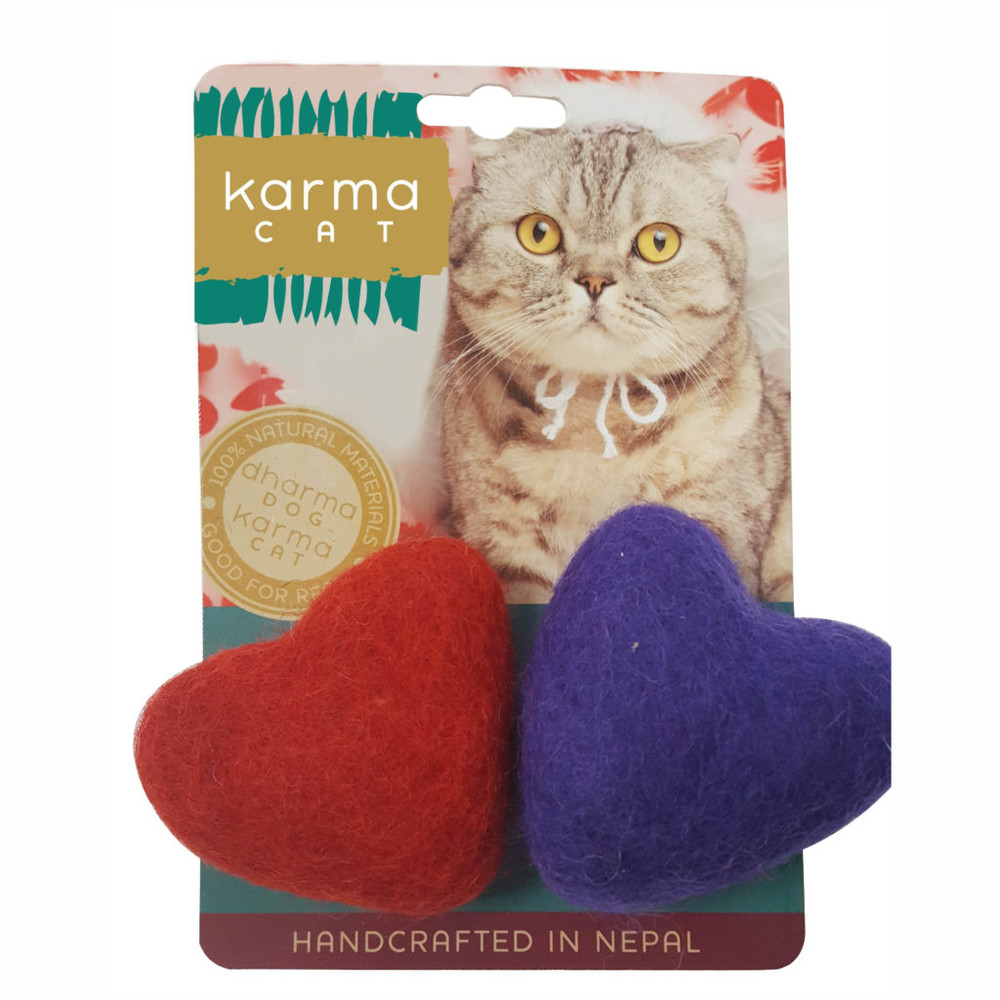 A toy you won't grow tired of seeing! These felt hearts are the perfect soft toy for your cat or small dog leave scattered about the house. Aassorted colors.