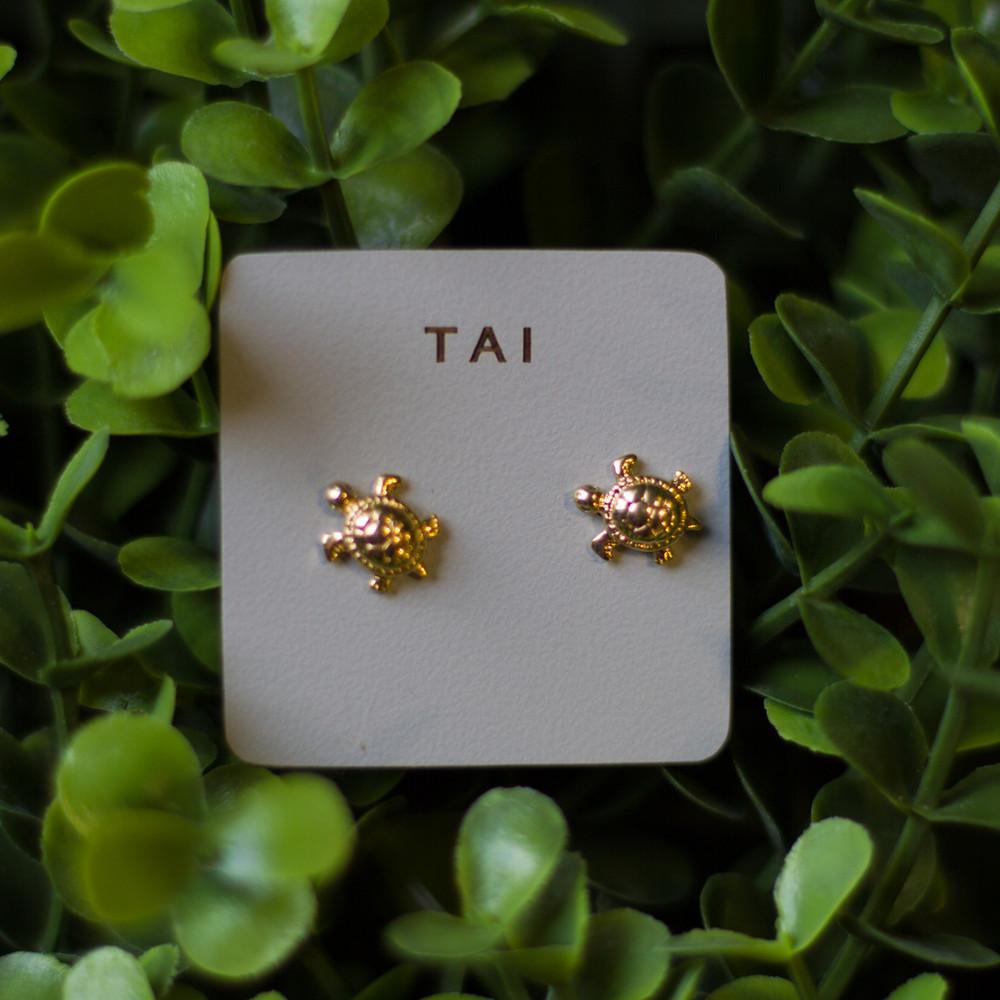 Gold Turtle Post Earrings