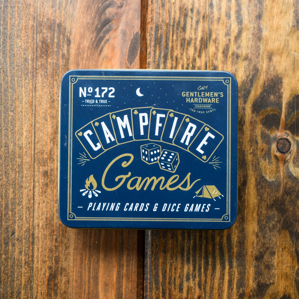 Easy for travel, camping, and inside this games set features waterproof playing cards, six dice, a score-pad, and pencil. Everything you need for your favorite classic games in a compact metal box.