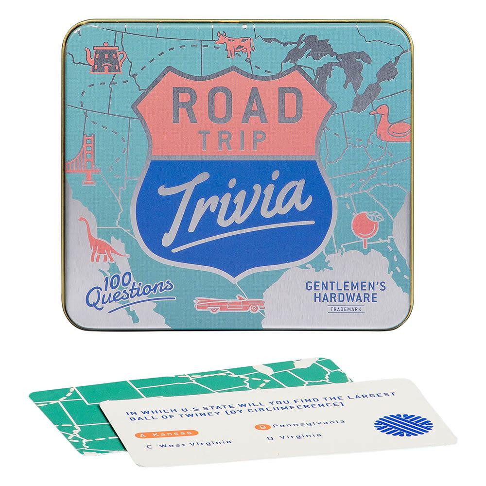 "Put the top down and car into gear -- it's time for some Road Trip Trivia from Gentlemen's Hardware! Keep your fellow travelers entertained when you're on the road with questions like 'As of 2019, in which state would you find world's largest ball of twine?'  Includes 100 trivia cards  Cards come in illustrated tin box measuring 4.3"" L x 4.7"" W x 1.5"" H"
