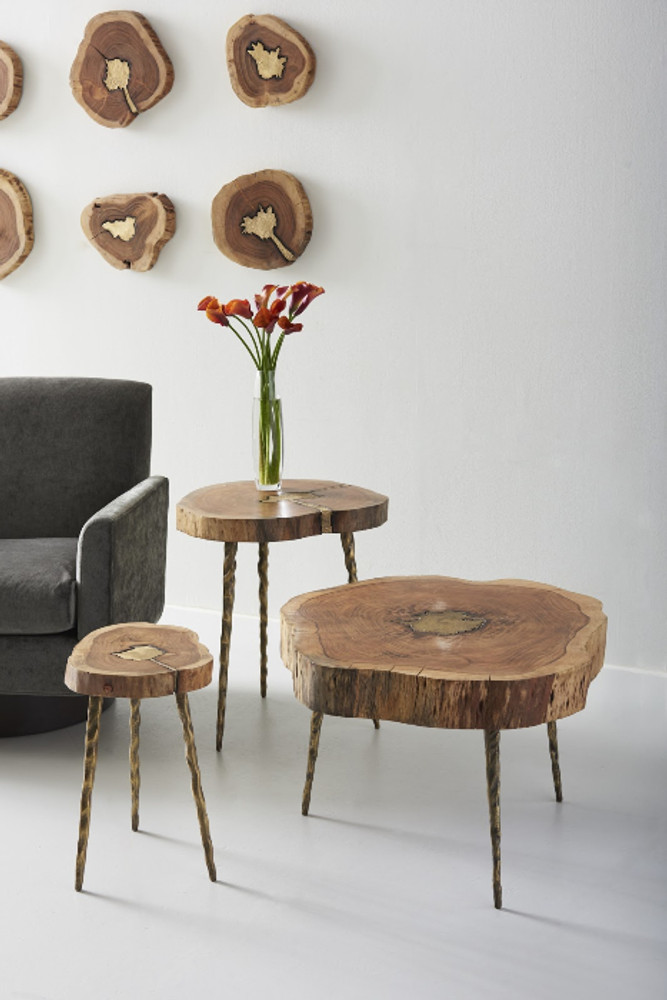Shown (left to right) small side table, large side table, coffee table)   A unique piece that blends well with all styles. This hamcha and poured brass table has has just enough depth, shine, and intrigue to bring your space together.