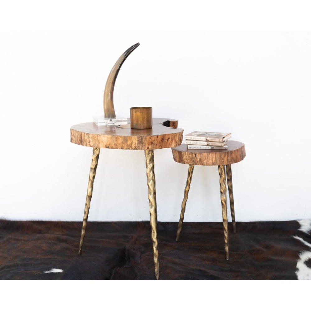 Shown (left to right) large side table, small side table  A unique piece that blends well with all styles. This chamcha and poured brass table has has just enough depth, shine, and intrigue to bring your space together.