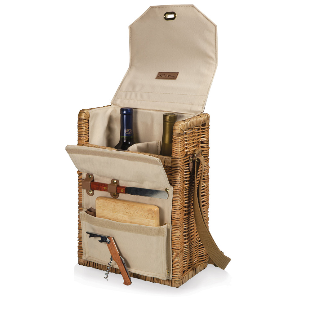 """Ready for your next romantic getaway? This wine basket features an insulated space for two 750ml bottles of wine, and an exterior pocket that holds a cheese board (6""""x6""""), wood handled cheese knife, and waiter style corkscrew. The adjustable shoulder strap allows for an easy carry to your next picnic."""