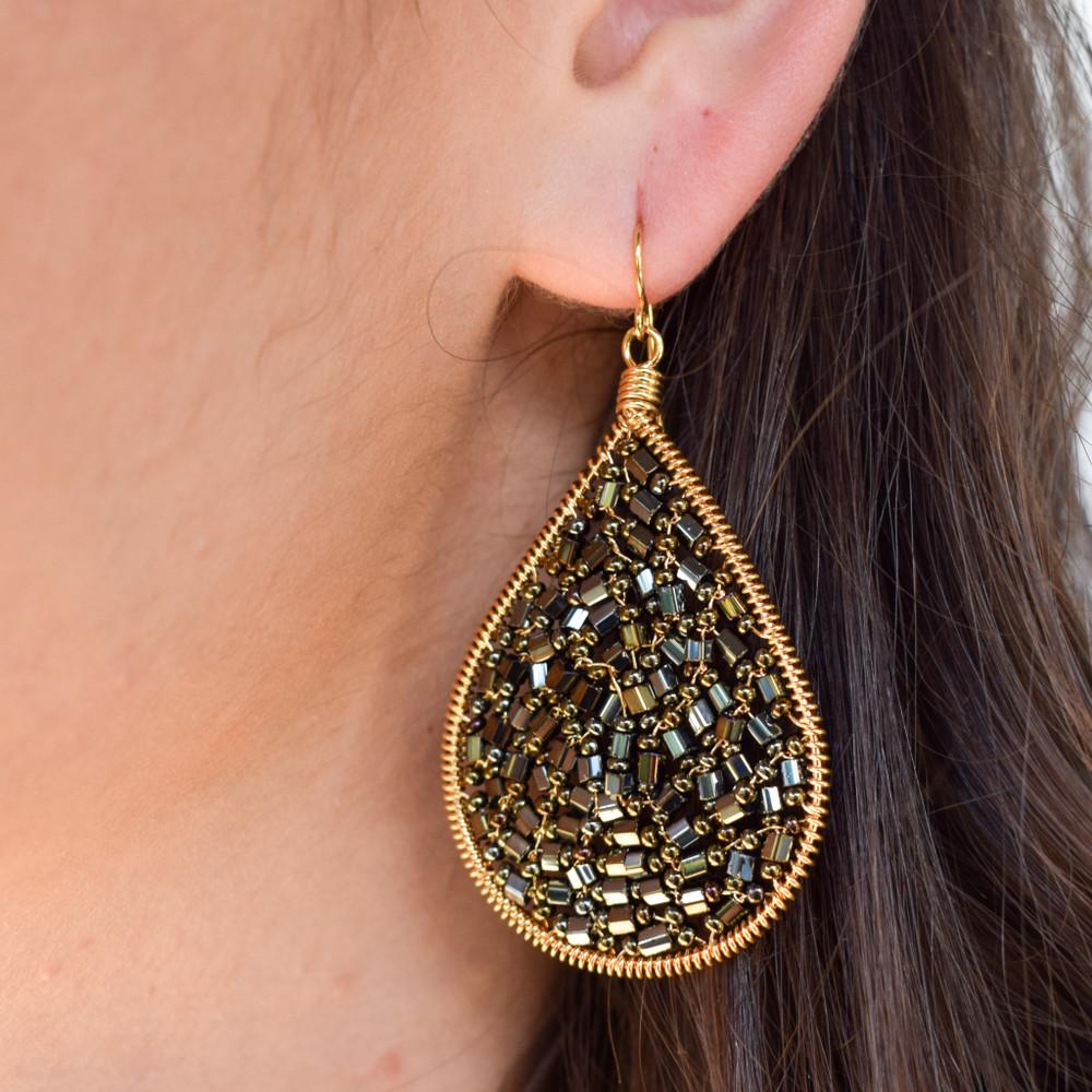 Gemstone Teardrop Earring