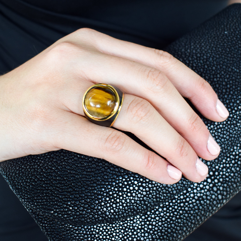 Black Enamel Tiger's Eye Ring