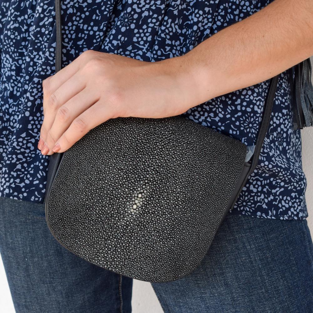 Brooke Shagreen Cross Body Bag - Black