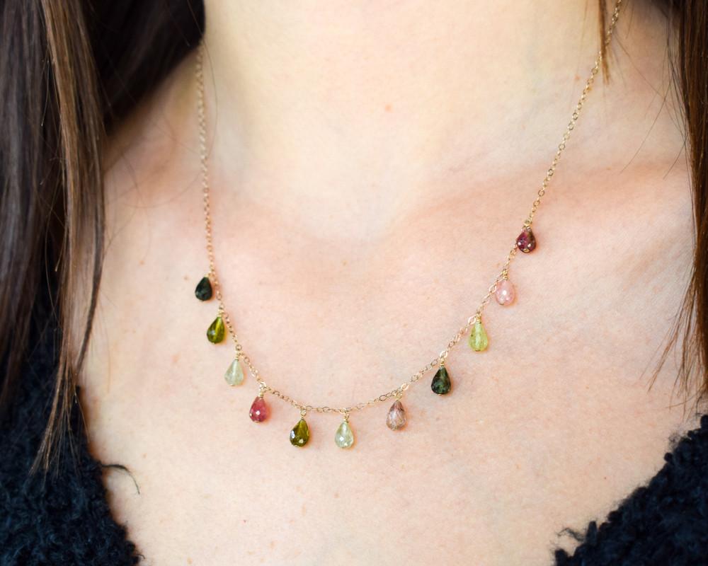 Multi Shade Tourmaline Dangle Necklace