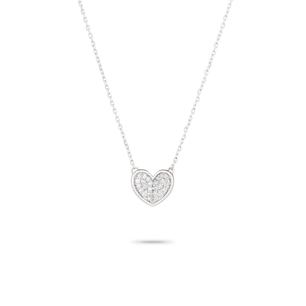 Pave Folded Heart Necklace