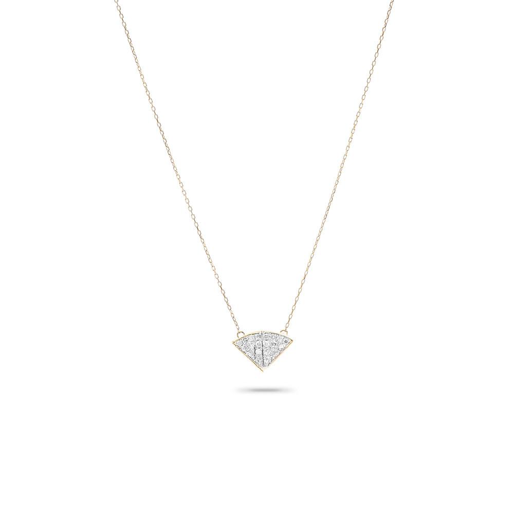 Tiny Pave Folded Fan Necklace