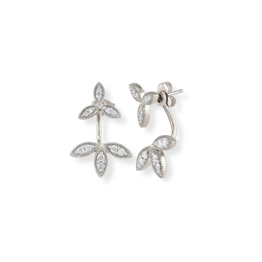 Pave Double Flower Back Drop Earrings - SLV