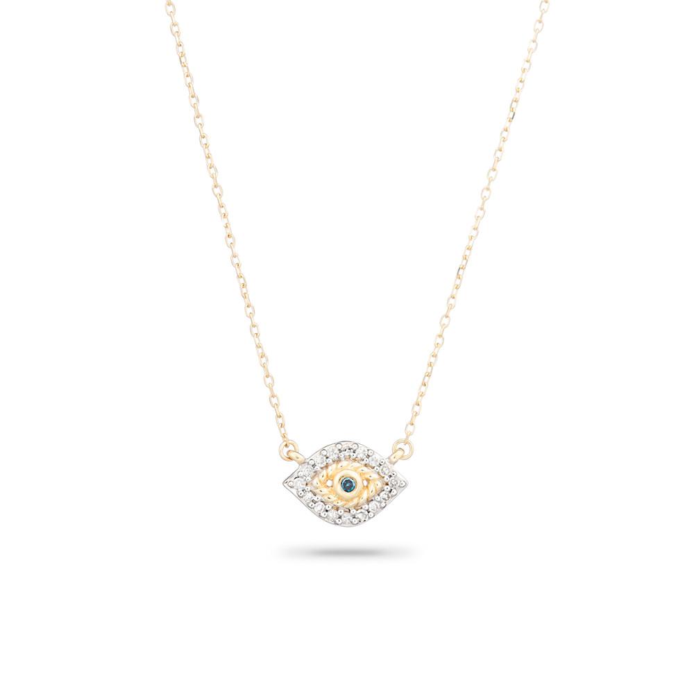 Super Tiny Pave Evil Eye Necklace - Y14