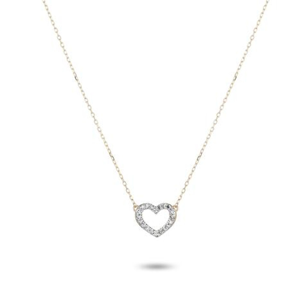 Tiny Pave Open Folded Heart Necklace - Y14