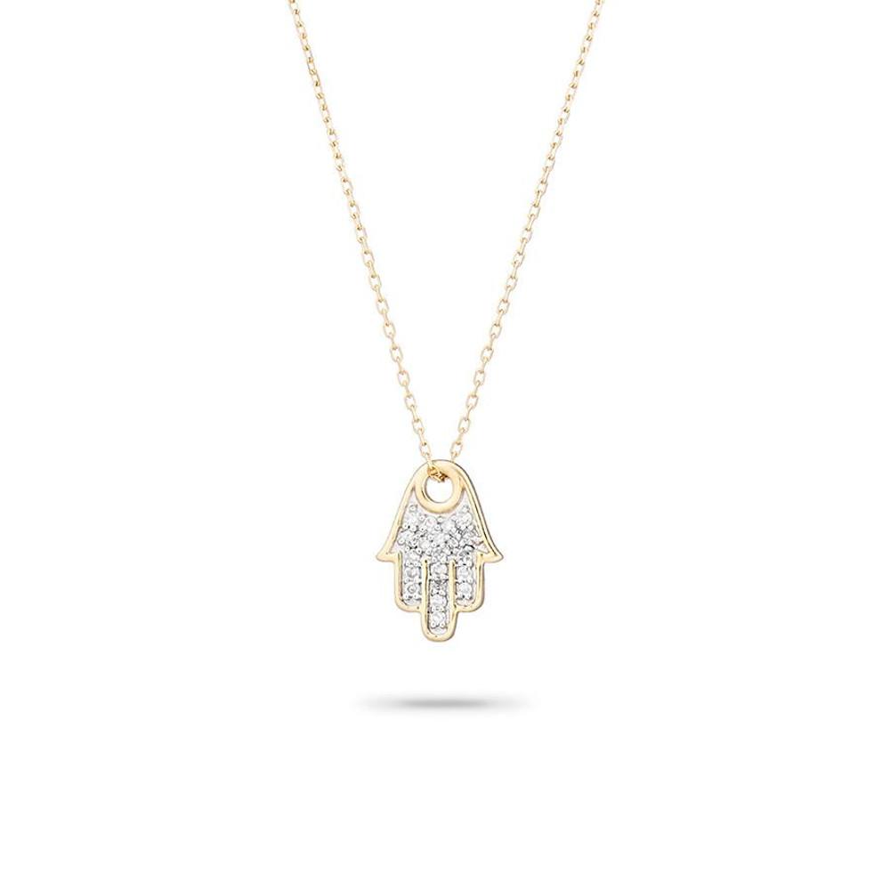 Solid Pave Hamsa Necklace - Y14