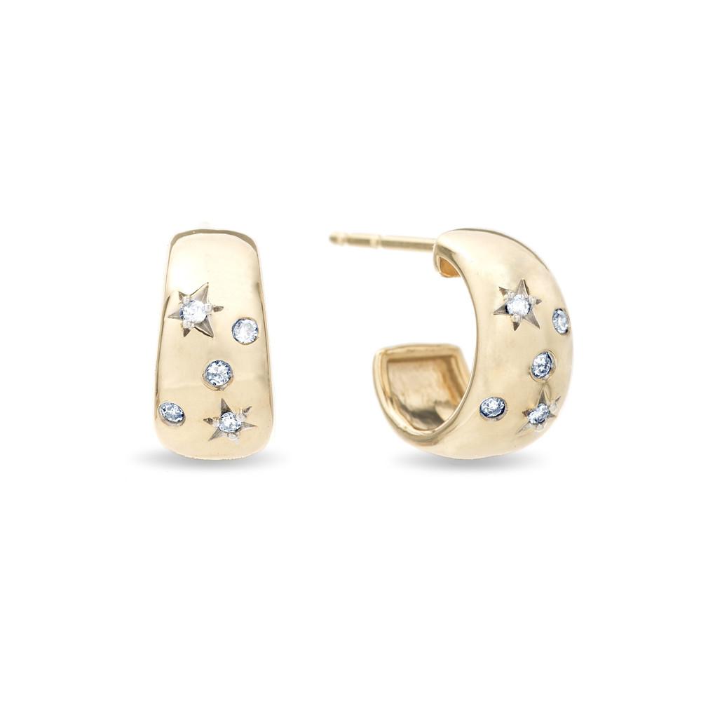Celestial Diamonds Wide Huggie Hoops - Y14