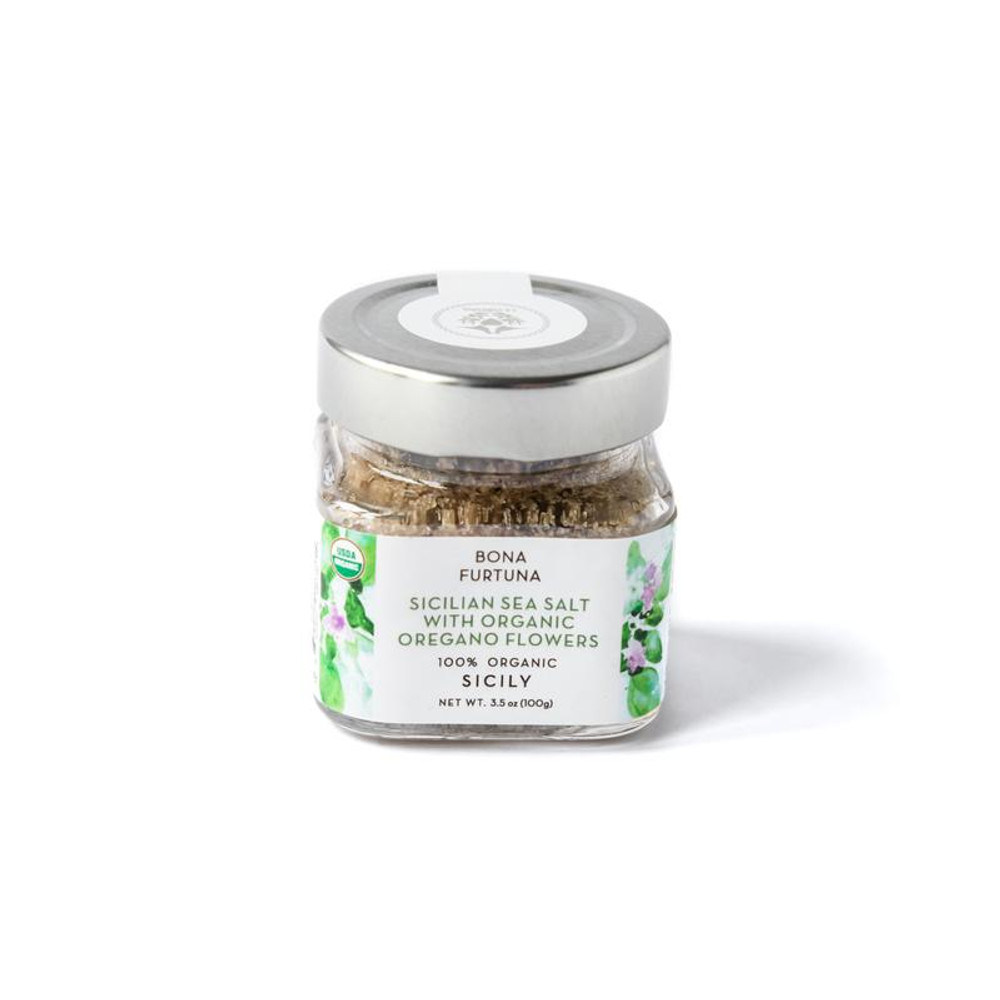 From the La Furtuna estate in Siciliy the oregano flowers are hand harvested, air dried and infused with 100% Pure Sea Salt. The result is a superb finishing salt that gives pasta, vegetables and your favorite dish a unique floral quality.