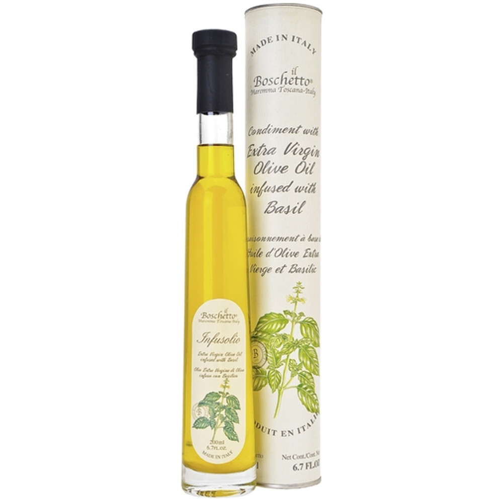 The Il Boschetto olive oil is as beautiful as it is flavorful. Extra virgin olive oil is infused with basil giving it a light full flavor, perfect on pasta salad, caprese or fresh vegetables.