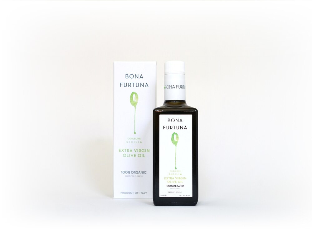 From the family farm in Sicily, Bona Furtuna harvests their olives with care from olive trees over 1,000 years old. This smooth olive oil goes perfectly with salad, fresh pasta, or bread.