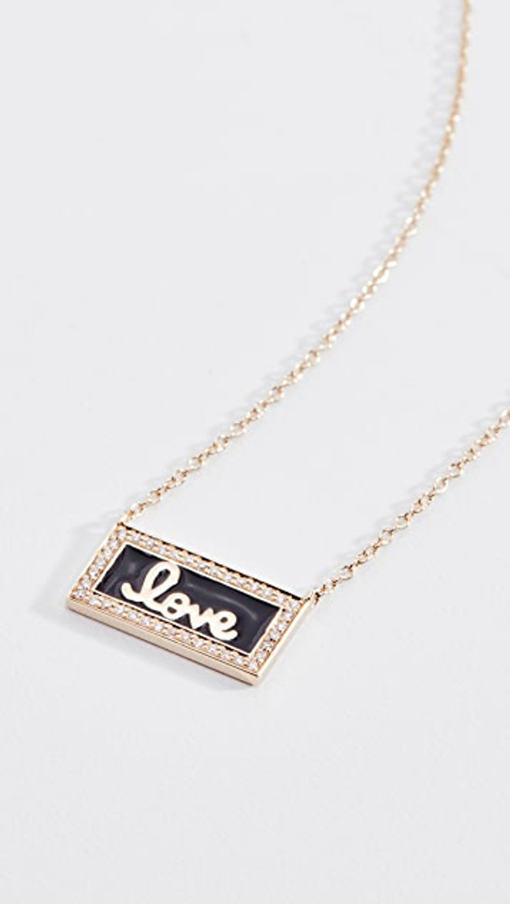 Love Script Enamel Bar Necklace w/ Pave Border