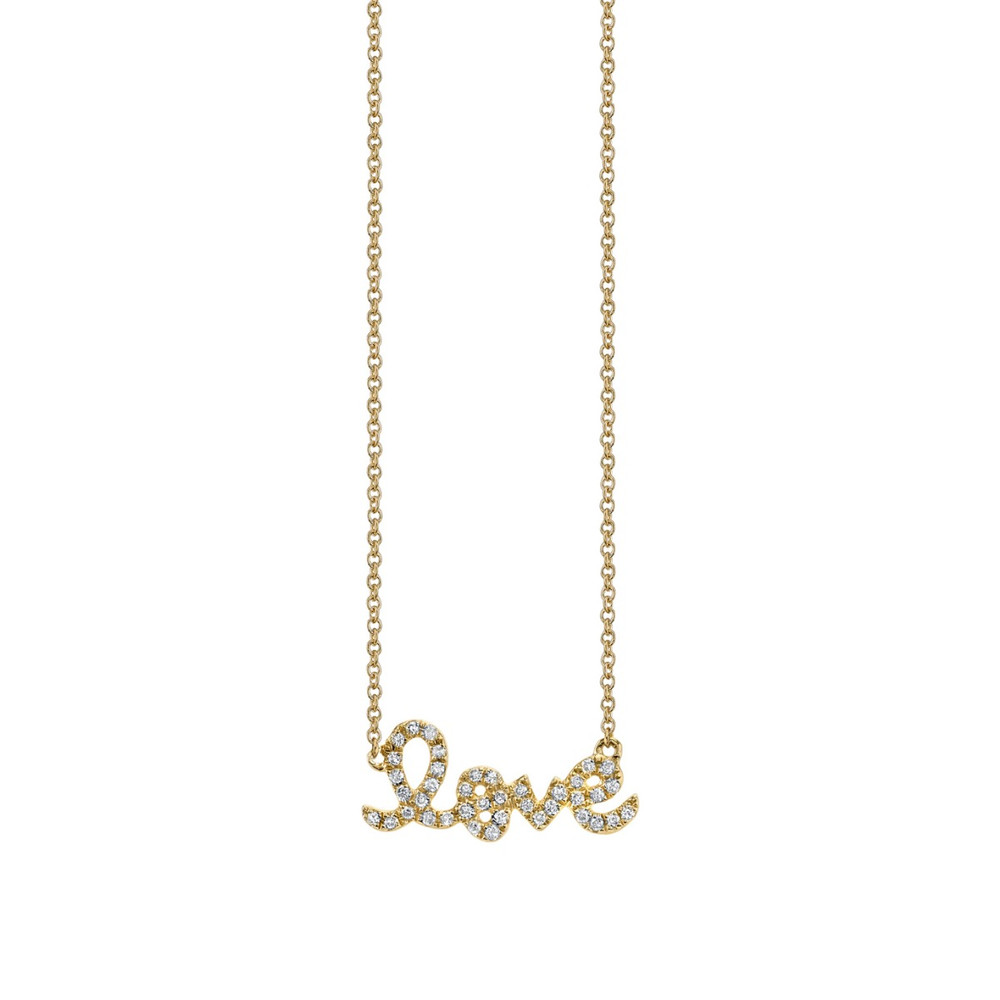 Small Love Script Pave Necklace