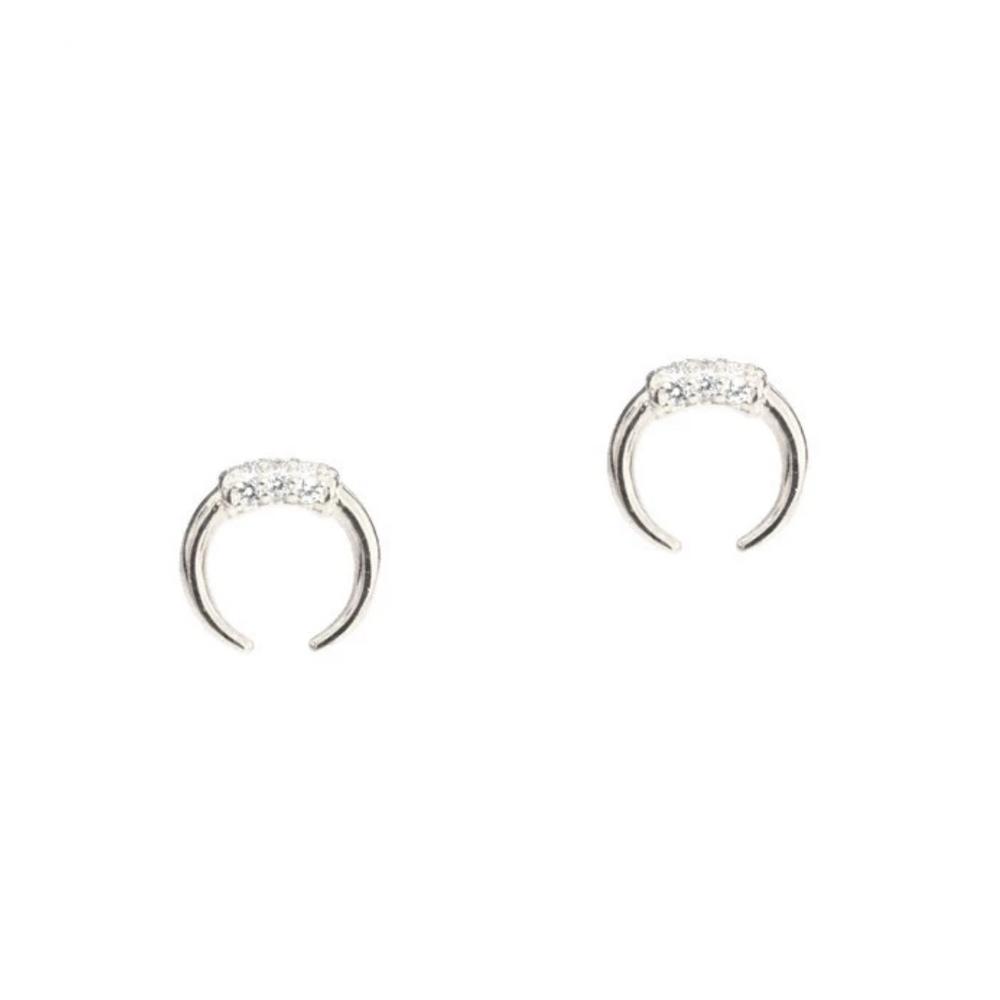 Double Horn w. CZ Stud Earring