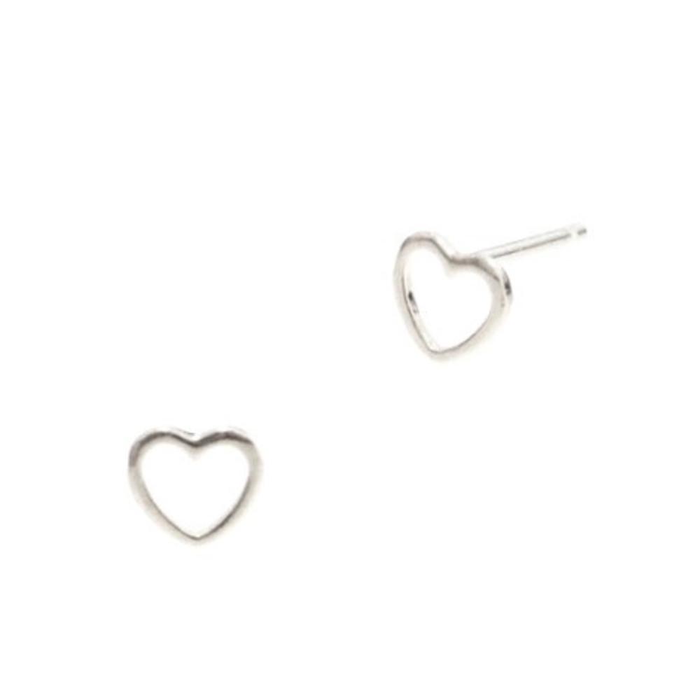 Silver Open Heart Post Earrings