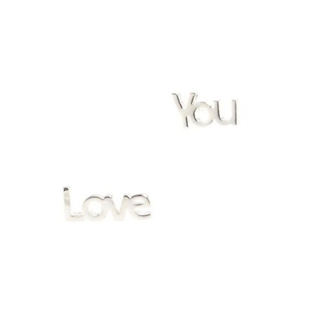 Love You Earrings - Silver