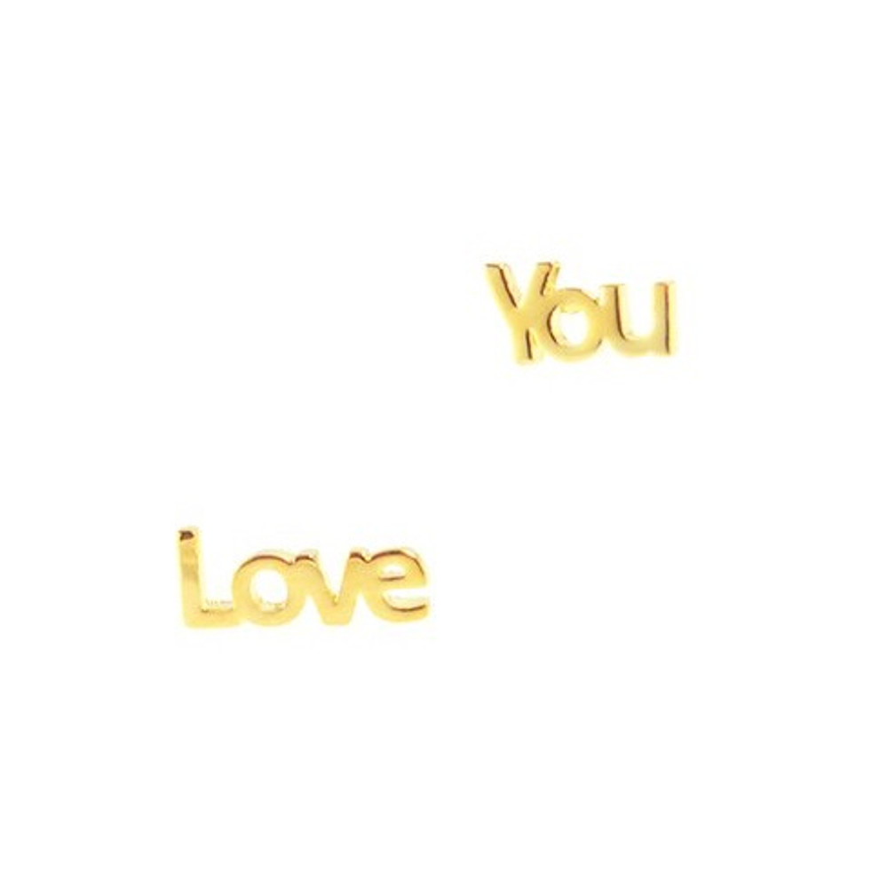 Love You Earrings - Gold