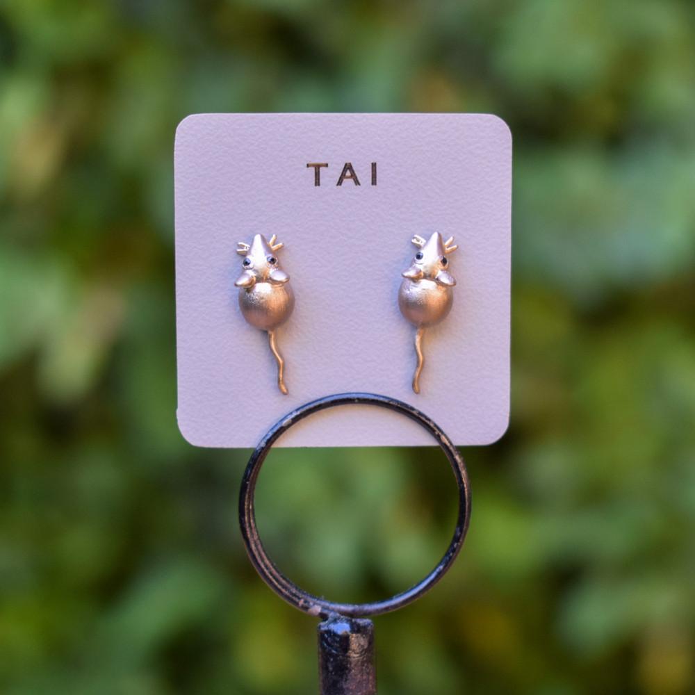 Gold CZ Mice Stud Earrings