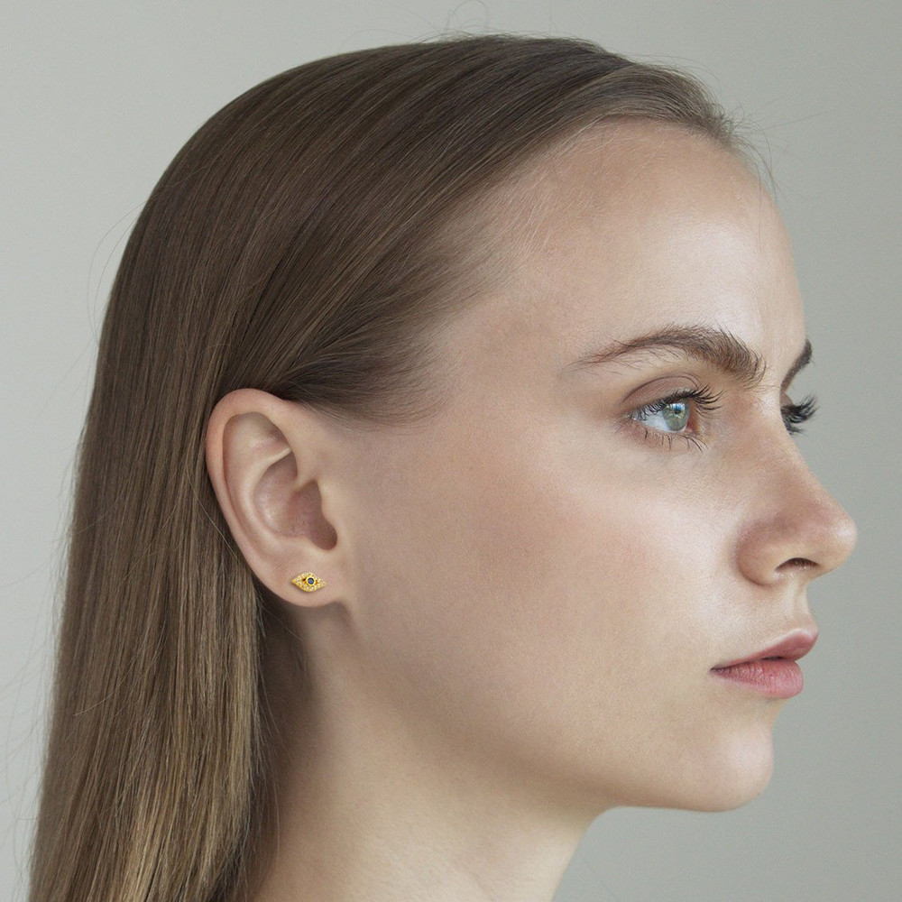 Gold CZ Evil Eye Stud Earrings