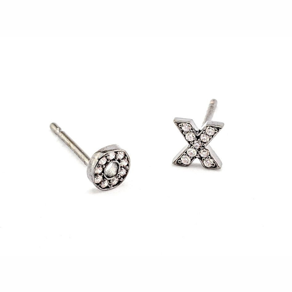 XO Earrings - Silver Oxide/CZ