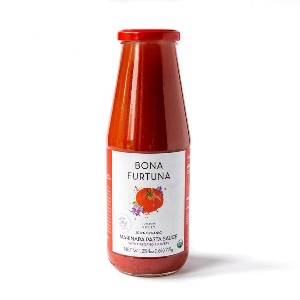 """Oregano Flower Marinara Pasta Sauce: Pressed from ancient Corleonese heirloom tomato varieties, our Sicilian marinara sauce perfects the """"straight-off-the-vine"""" taste and adds authenticity to any family dinner. .7L"""