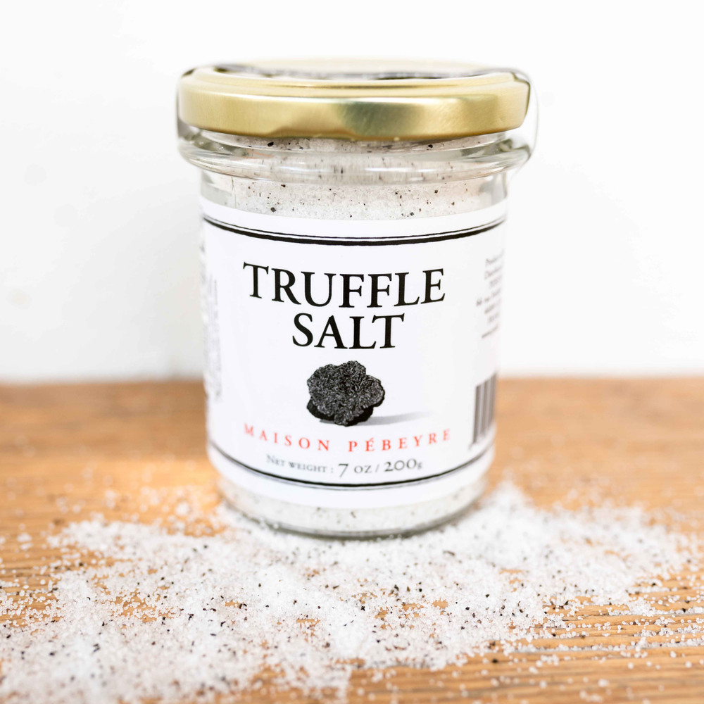 Delicious French finishing salt from Maison Pebyre and French Farm. Flavored with shaved truffles. You can sprinkle this salt on eggs, meats, pastas, risottos, vegetables, and baked potatoes. Your taste buds will have a great time figuring out the best way to use this truffle salt. 7 oz.