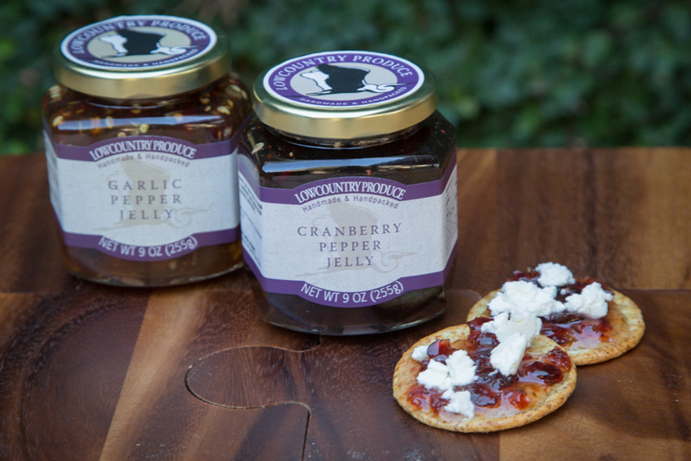 Low Country Produce Cranberry Pepper Jelly is delicious on a turkey sandwich or over cream cheese or brie! Yum!